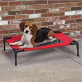 Pet Elevated Steel Frame Portable Mesh Cot Bed for Dog Cat (S - Red)