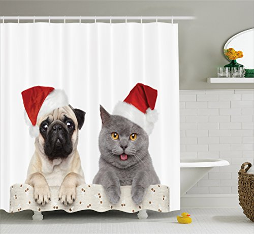 Pug Shower Curtain by Ambesonne, Christmas Themed Animal Photography with a Cat and Dog Wearing Santa Hats Print, Fabric Bathroom Decor Set with Hooks, 84 Inches Extra Long, Grey Cream Red