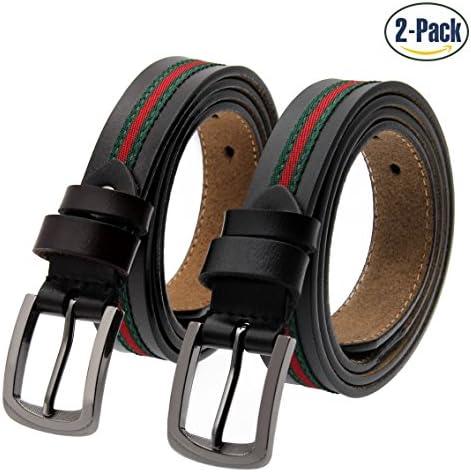 de86d2546b7 Set of 2 Women s Fashion Genuine Cowhide Leather Belt Vintage Casual Belts  for Jeans Shorts Pants Summer Dress for Women