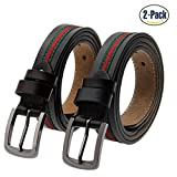 Set of 2 Women's Fashion Genuine Cowhide Leather Belt Vintage Casual Belts for Jeans Shorts Pants Summer Dress for Women With Alloy Pin Buckle By ANDY GRADE