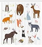 kids bathroom ideas Ambesonne Cabin Decor Shower Curtain by, Cute Animals in Spring Meadow Childish Woodland Fauna Kids Baby Room Nursery, Fabric Bathroom Decor Set with Hooks, 70 Inches, Multicolor