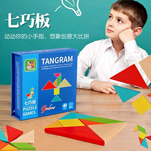 Balai 7 Piece Wooden Brain Training Geometry Tangram Intelligence Puzzle Kids Adult Challenge IQ Early Educational Colorful Jigsaw Creative Classic Toy for Children Aged 3-UP Year