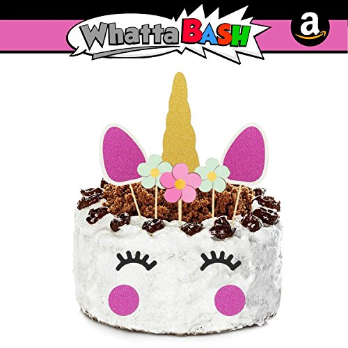 10pcs Pink Unicorn Birthday Cake Cupcake Topper Set