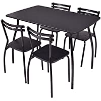 DPThouse 5 Piece Dining Set 1 Table And 4 Chairs Black Dining Dinette