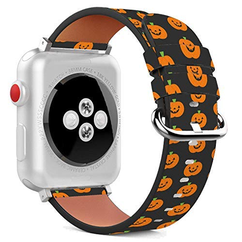 Compatible with Apple Watch - 38mm Leather Wristband Bracelet with Stainless Steel Clasp and Adapters - Halloween