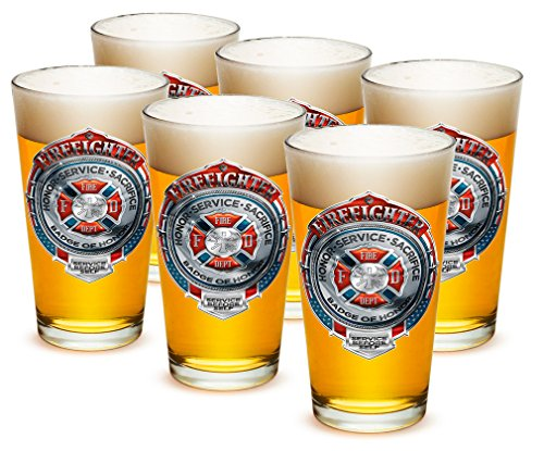 Pint Glasses – Firefighter Gifts for Men or Women – Fire Honor Service Sacrifice Chrome Badge Beer Glassware – Beer Glasses with Logo - Set of 24 (16 Oz)