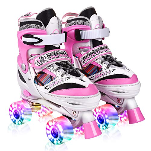 Kuxuan Doodle Design Roller Skates Adjustable for Kids,with All Wheels Light up,Fun Illuminating for Girls and Ladies - Pink S