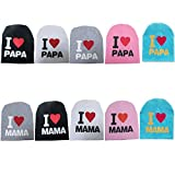 Engmoo 5 Pack Beanies Toddler Baby Soft Cute Kids Hat Beanies Cap I Love PAPA and Mama