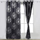 Deconovo Foil Print Floral Panels Thermal Insulated Blackout Curtain Window Blackout Drapes For Nursery Dark Grey 52W by 84L Inch One Pair