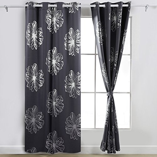 Deconovo Fashion Dark Grey Flower Foil Printed Bedroom Blackout Grommet Curtain 52