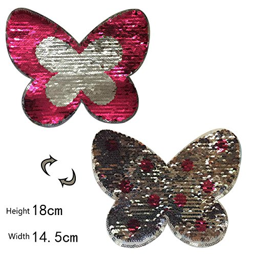 Butterfly Reversible Change color Sequins Sew On Patches DIY Patch Applique Nice