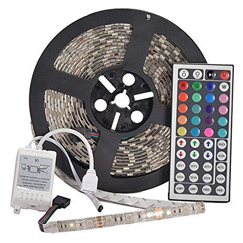 Price comparison product image Efyly 12v Flexible RGB LED Strip Light,  LED Tape,  Multi-Colored,  300 Units 5050 LEDs,  Waterproof,  Adhesive Light Strips,  Pack of 5m