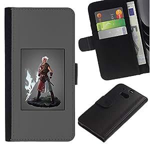 A-type (Héroe Hombre Super Power Fuego Espada Rubio) Colorida Impresión Funda Cuero Monedero Caja Bolsa Cubierta Caja Piel Card Slots Para HTC One M8