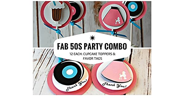 Amazon 12 Each Sock Hop Fabulous 50s Party Cupcake Toppers And Favor Tags Handmade
