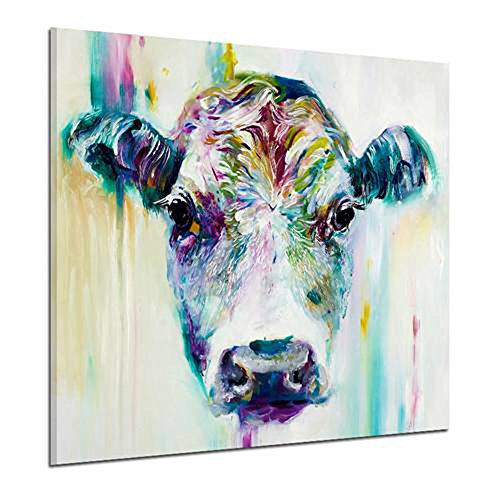 Wowdecor Wall Art Pictures Canvas Prints - Colorful Forest Animal World Giclee Pictures Paintings Printed Pictures on Canvas, Posters Wall Decor Gift - UNFRAMED (Colorful Cow, XL)