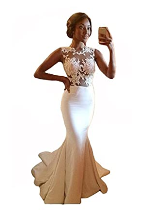 da6bef701c Julang Women s White Lace Appliques Ruffles Floor Length Evening Gown for  Wedding at Amazon Women s Clothing store