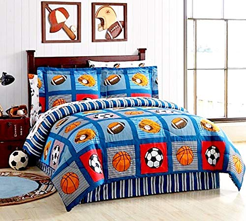 Boys Sports Patch Football Basketball Soccer Balls Baseball Blue Reversible Comforter Set (Full Size 8pc Bed in A Bag)