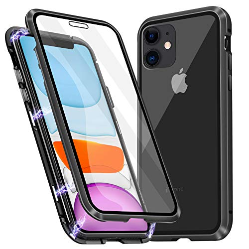 WHENUO iPhone 11 Case, Ultra-Thin Magnetic Adsorption Case Front and Back Tempered Glass Full Screen Coverage