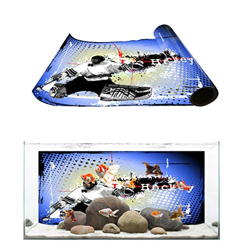 Fantasy Star Aquarium Background Colored Drawing Ice Hockey Print Fish Tank Wallpaper Easy to Apply and Remove PVC Sticker Pictures Poster Background Decoration 24.4
