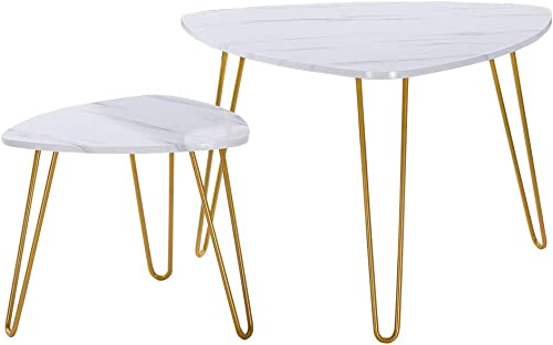 SSLine Nesting Coffee End Tables,Triangle Modern Side Table Coffee Table Sofa Console Tables for Living Room Balcony Home and Office Nesting Coffee Table