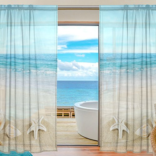 ALIREA Landscape With Shells On Tropical Beach Sheer Curtain