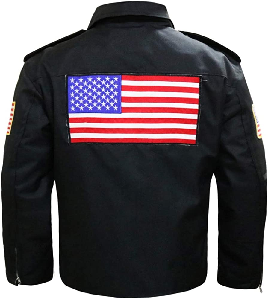 Easy Rider Biker Peter Fonda Black Motorcycle Cordura Jacket USA American Flag On Back Leather Estate Cordura Jacket