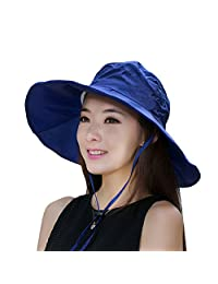 Summer Beach Hat Wide Brim for Women Foldable UPF 50+