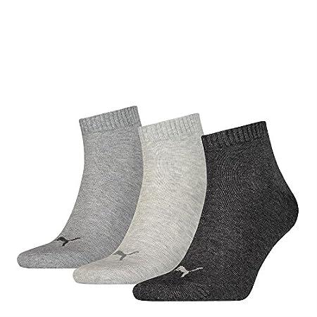 PUMA Sneaker Quarter Socken 3 Paar Damen Herren UNISEX  grau anthrazit 800