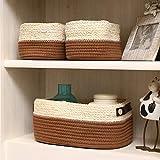 Straw Cloth Storage Basket Storage Basket Sundries Finishing Basket Desktop no Cover Storage Basket Storage Box (Color : Coffee Number)