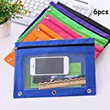 King&Pig 6pcs Zippered Binder Pencil Pouch 3 Ring Rivet Enforced Hole School Pen Case Desktop Storage Bag with Clear Window (Multicolored)