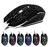 Gaming Mouse, Gaming Mouse Mice for PC with 6 Buttons, up to 2400 DPI, Adjustable DPI Switch Function, 7 Lighting Color Options-Black