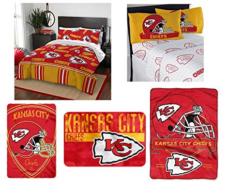 The Northwest Company NFL Kansas City Chiefs Ultimate 12 pc Queen Bedding Set - Includes 1 Comforter, 2 Flat Sheets, 2 Fitted Sheets, 4 Standard-Size Pillowcases, 1 Blanket, 1 Throw, and 1 Rug