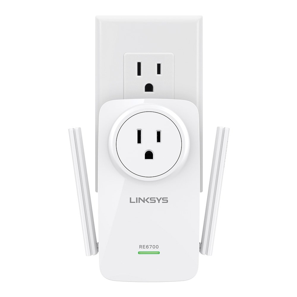 Linksys AC1200 Amplify Dual Band High-Power Wi-Fi Gigabit Range Extender / Repeater with Intelligent Spot Finder Technology and AC Pass Thru (RE6700)