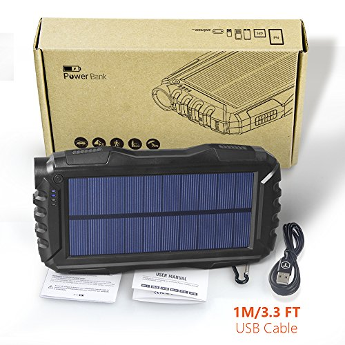 Elzle 25000mAh mobile Solar energy Bank twin USB production Battery Bank by methods of  effective LED lightweight Outdoor Solar Charger contact External Battery Shockproof Dustproof for iPhone SeriesSmart PhoneMore Solar Chargers