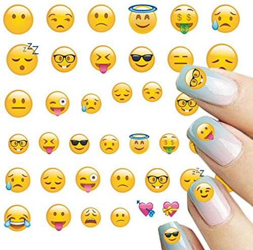ALLYDREW 250+ Emoji Water Transfer Nail Decals 3D Nail Art Nail Decals (8 sheets) ...