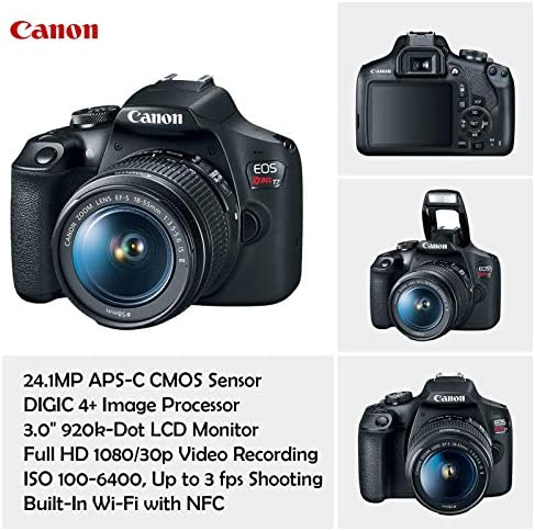 Canon EOS Rebel T7 DSLR Camera with 18-55mm is II Lens Bundle + Canon EF 75-300mm f/4-5.6 III Lens and 500mm Preset Lens + 32GB Memory + Filters + Monopod + Professional Bundle (Renewed) 51ERPh1A CL