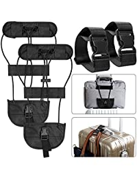 4 Packs Add A Luggage Belt and Straps, AFUNTA Adjustable Suitcase Belt Attachment Accessories for Connect Bag Together-Black