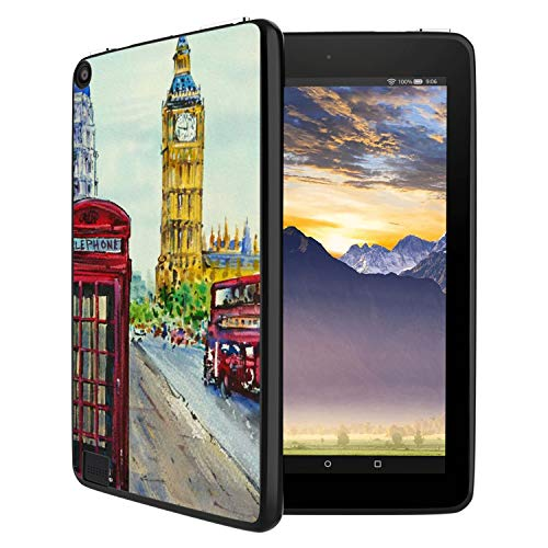 Customized Protective Cover with Personalized Durable TPU Ultra-Black Silicone UV Printing Case for London Street Kindle Fire 7