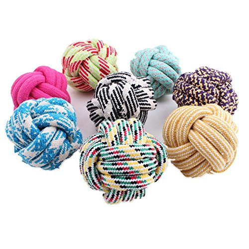 - Rachel Pet Products Colorful Cotton Rope Weaving Durable Chew Cleaning Teeth Ball Pets Dog Toys, Random Color, 2 pcs per pack