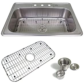 Drop In 33' / (4 hole) Stainless Sink & Accessories Kit by Sink Smart