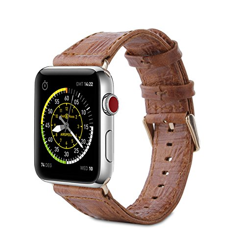 Leather Emboss Band Watch - FRIFUN Apple Watch Band 38mm Genuine Leather iwatch Strap Replacement Band Compatible with Stainless Metal Clasp for Watch Series 3 Series 2 Series 1 Sport and Edition(Brown+Golden Buckle)
