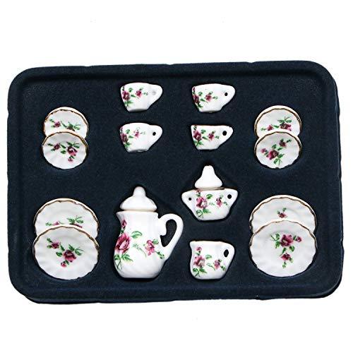 (JETEHO 17Pcs Dollhouse Tea Set Rose Flower Porcelain Ceramic Tea Set Mini Dollhouse Kitchen Accessories)