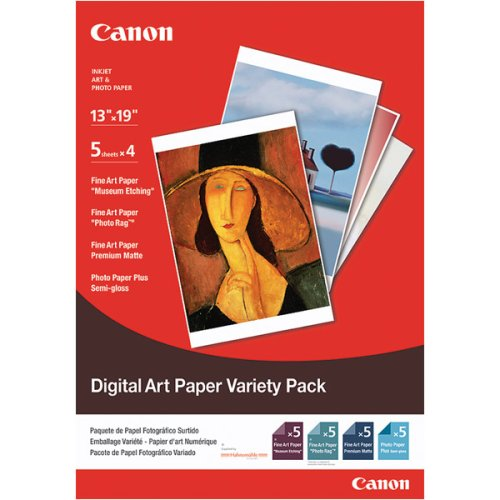 Canon Digital Art Photo Paper Variety Pack, 13 x 19 Inches, 20 Sheets (1822B001)