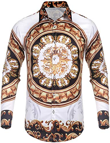 (Daupanzees Mens Fashion Long Sleeve Street Wear Unique Revel Modern Birthday Vintage Disco Luxury Graphic Print Button Up Shirts (White M))