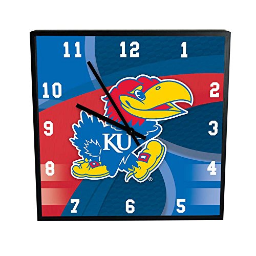 The Memory Company (COL-KAN-1497) NCAA The University of Kansas Official Carbon Fiber Square Clock, Multicolor, One (Kansas University Desk)