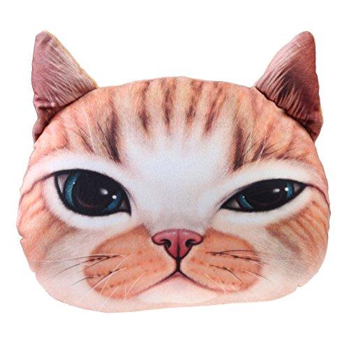 Chinatera Cat Head Shape Pillow Car Sofa Chair Back Cushion Cat Head Contains Pillow Core Automotive Creative Miao Pillows (Yellow Cat)