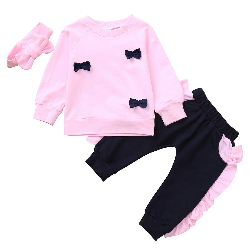 Kehen Girl Party Clothes Infant Baby Toddler Girl Autumn Winter Outfit 3pcs Bows Pullover Shirt + Pants + Headband Pink 4T