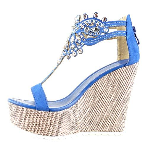 Angkorly - Zapatillas de Moda Sandalias correa zapatillas de plataforma mujer joyas bordado Talón Plataforma 13 CM - Azul