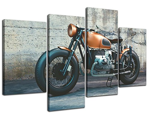 NAN Wind 4 Pieces Modern Canvas Painting Wall Art The Picture For Home Decoration Vintage Motorcycle Photography Print On Canvas Giclee Artwork For Wall Decor (Print Poster Motorcycle Art)