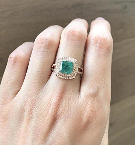 Amazon Com Emerald Cushion Cut Engagement Ring Rose Gold Emerald